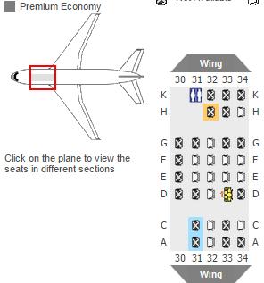 Premium economy seat map